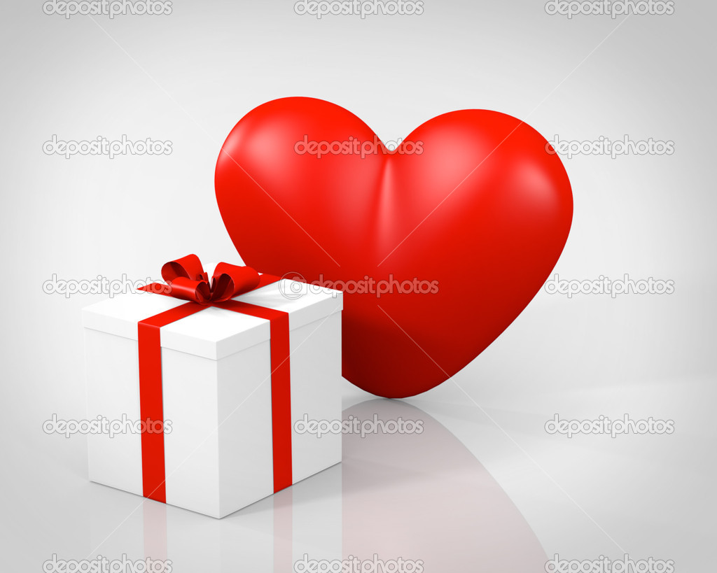 This illustration is a 3d render representing a gift box with heart on gray  Stock Photo #21309051