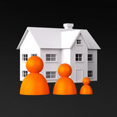 Three Peoples on the Background of the House — Stock Photo