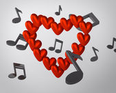 Background with hearts and musical notes — Stock Photo