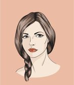 Face of girl with braid — Stockvector