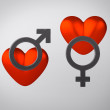 Hearts with Gender Symbols — Stock Photo #25050989