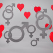 Background with Hearts and Gender Symbols — Stock Photo #25051019