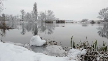 Winter landscape at Havel River (Brandenburg - Germany) — Stockvideo
