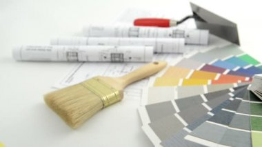 Color Swatch for home improvement blueprints and paintbrush — Stock Video