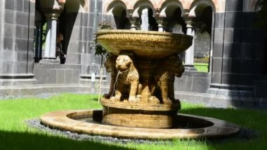 Lion fountain at Maria Laach Monastery. — Stock Video