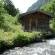 Little alpine Hovel at stream water at Zillertal (Austria) — Stock Video