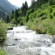 Stock Video: Stream water and landscape of Schwarzach Valley at Zillertal Alps
