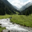 Stock Video: Stream water and landsape of Schwarzach Valley at Zillertal Alps