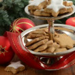 Stock Video: Christmas Time. Cake stand with cinnamon cookies.