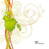 Fondo con hojas y rizos — Vector de stock