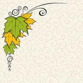 Achtergrond met bladeren en krullen. — Stockvector