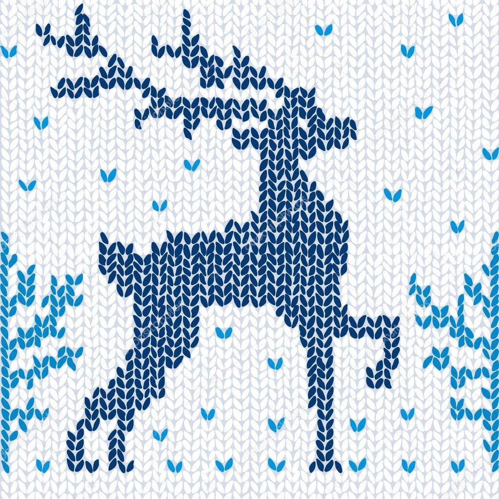 树与鹿手绘图片