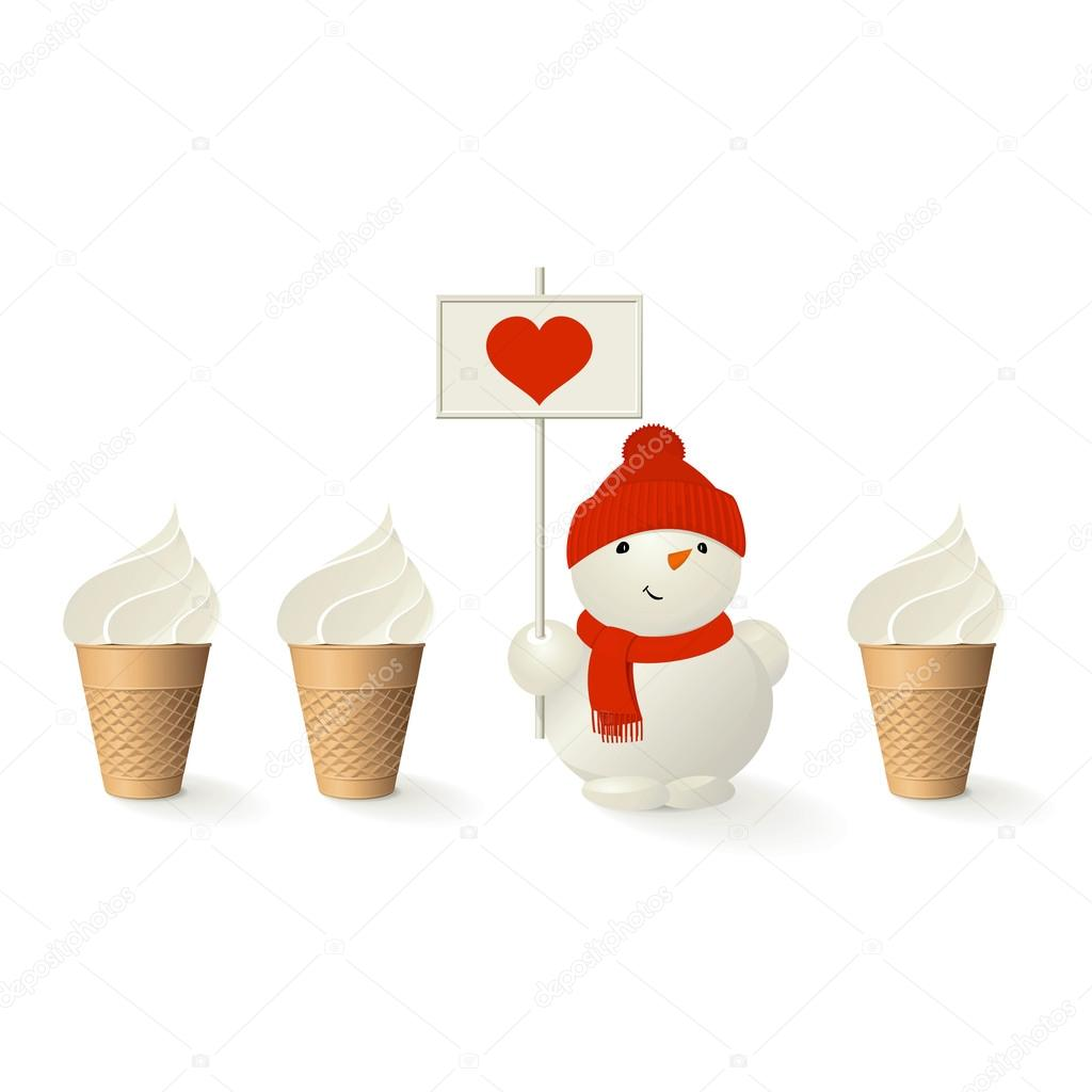 Ice-cream and an funny snowman with heart. A vector.   Stock Vector #12733600