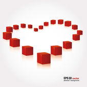 Red cubes in the form of heart — Stock Vector