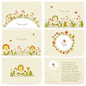 Set of cards with flowers — Stock Vector