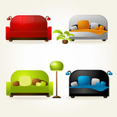 Sofas and beds. — Stock Vector