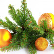 Branch of New Year's fir-tree with gold ornaments. — Stock Photo #14505317