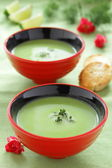 Cream - soup with green peas. — Stock Photo