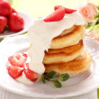 Pancakes with strawberries. — Stock Photo