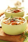 Julienne with chicken and mushrooms. — Stock Photo