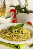 Spaghetti with pesto. — Stock Photo
