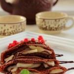 Chocolate pancakes. — Stock Photo