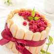 "Cake ""Charlotte"" with raspberries and cream, selective focus. — Stock Photo #30044881"