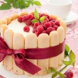 "Cake ""Charlotte"" with raspberries and cream, selective focus. — Stock Photo #30044927"