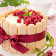 Cake Charlotte with raspberries and cream, selective focus. — Stock Photo