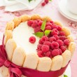 "Cake ""Charlotte"" with raspberries and cream, selective focus. — Stock Photo #30044995"