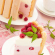 "Cake ""Charlotte"" with raspberries and cream, selective focus. — Stock Photo #30045003"