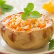 Rice porridge with pumpkin baked in pumpkin. Selective focus. — Stock Photo #30249807