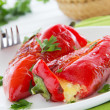 Roasted peppers stuffed with feta cheese, selective focus. — Stock Photo #30506393