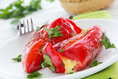 Roasted peppers stuffed with feta cheese, selective focus. — Stock Photo