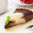 Chocolate tart with pears. Selective focus. — Stock Photo