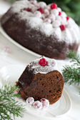 Chocolate cake with cranberries, new year, Christmas. — Stock Photo