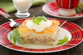 Potato gratin with cheese and meat. — Stock Photo
