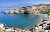 Scenic beach of Matala at Crete island in Greece — Stock Photo