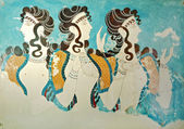 Ancient fresco from Knossos palace at Crete island, Greece — Stock Photo