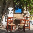 Old traditional coffee place at Crete island in Greece - Stock Photo