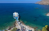 Sfakia harbor at Crete island in Greece — Stok fotoğraf