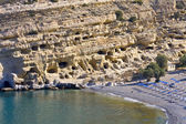 Matala beach at Crete island in Greece — Stock Photo