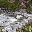 Stone bridge at Samaria gorge of Crete island in Greece - Stock Photo