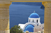 Scenic Greek church at Santorini island in Greece — Stock Photo
