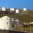 Stock Photo: Windmills at Santorini island in cyclades, Greece