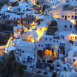 Oia village at Santorini island of Greece during nightfall — Stock Photo