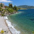 Scenic beach at Chalkidiki peninsula in Greece - Stock Photo