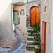 Medieval village of Emporio at Santorini island in Greece - Stok fotoraf