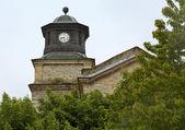 Vecchio orologio al villaggio di nymfaio in grecia del nord — Foto Stock