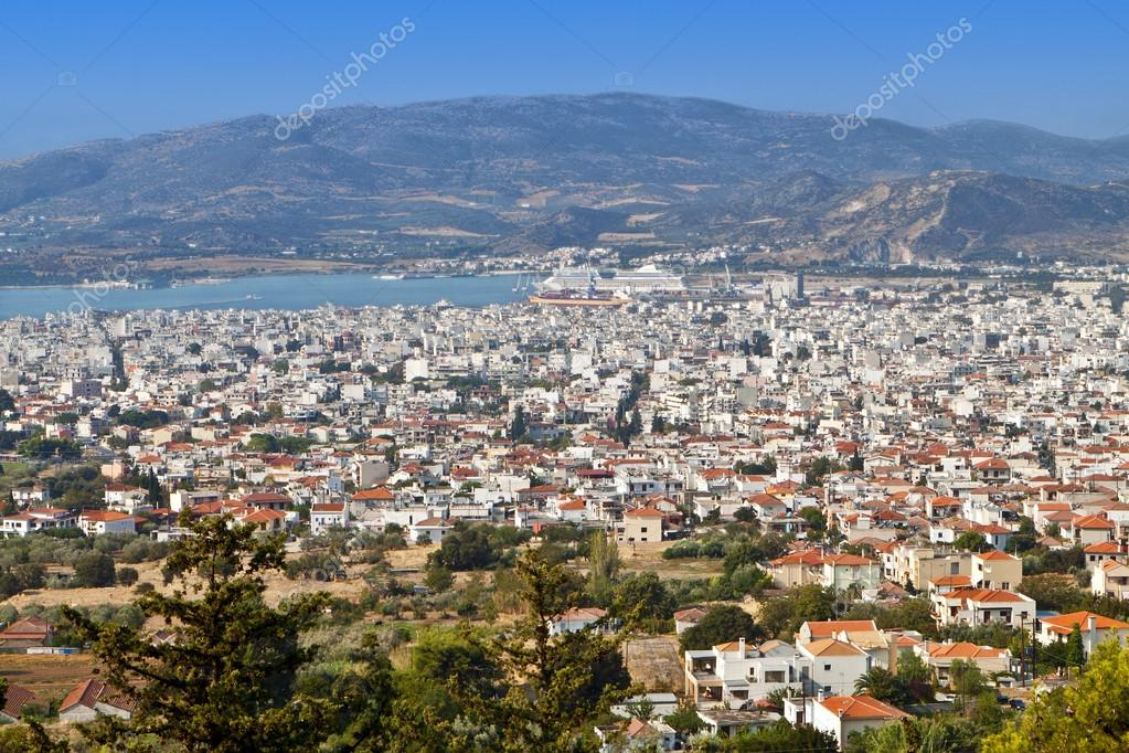 Portaria Greece  city photos gallery : Volos city as it is seen from Portaria of Pelion in Greece — Stock ...